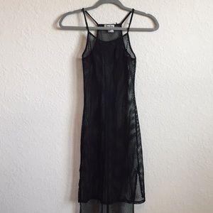 •90s Vintage Black Sheer Mesh Fishnet Mini Dress